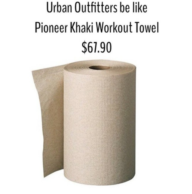 Urban Outfitters be like pioneer khaki workout towel $67.90