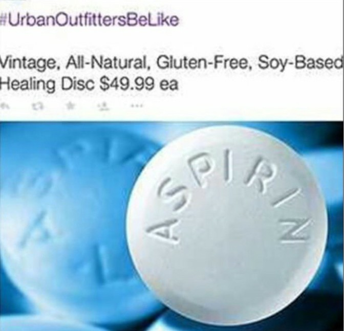 Urban Outfitters be like vintage all natural gluten free soy based healing disc $49.99 ea