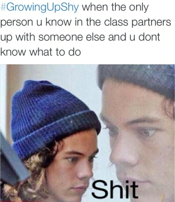 growing up shy when the only person you know in the class partners up with someone else and you don't know what to do