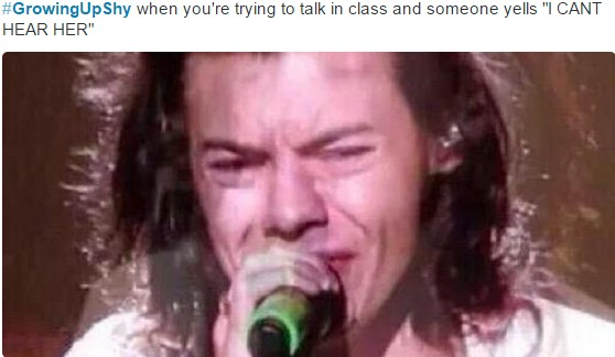 growing up shy when you're trying to talk in class and someone yells i can't hear her