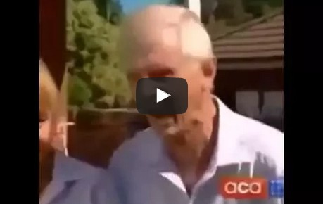 Old man eats the booty like groceries