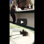Girl yells at restaurant workers over kebabs, walks into door