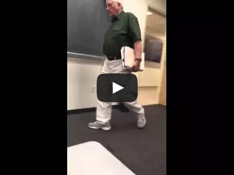 A compilation video of a college professor walking into class every day.