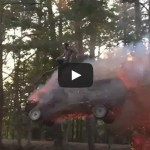 Most epic vehicle jump ever!! Pickup jumps through fire