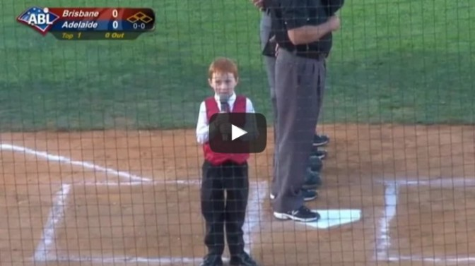 Kid battles through hiccups; performs AMAZING anthem