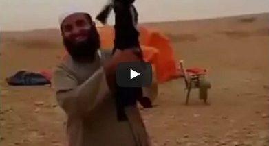 Goat yelling in the desert