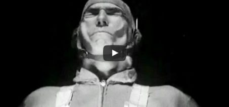 """Man in 457 mph Wind: """"Human Tolerance to Wind Blasts"""" 1946 NACA Langley Research Center"""