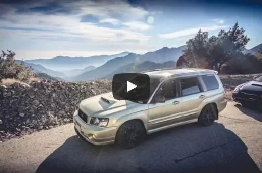 subaru drives off cliff