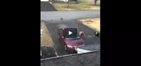 I caught you guys! Kids Write Happy Easter With Chalk on Woman's Driveway