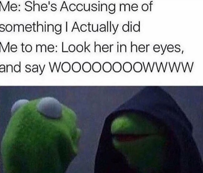 shes accusing me of something i actually did look her in the eyes and wasy wow 40 evil kermit the frog me to me memes