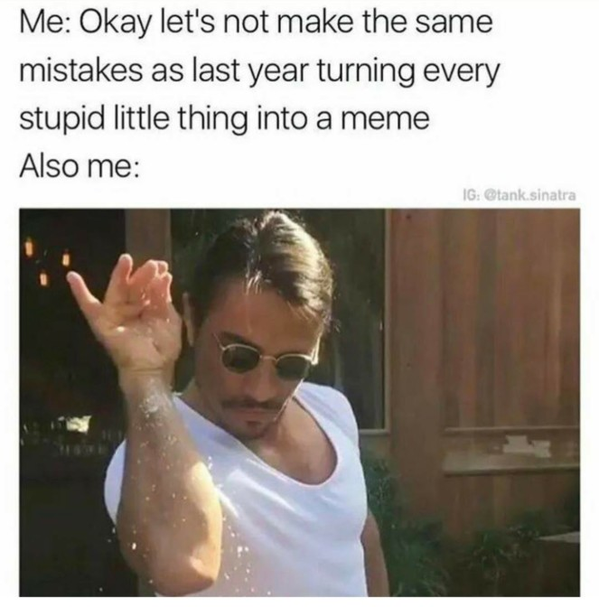 me okay lets not make the same mistakes as last year turning every stupid little thing into a meme also me