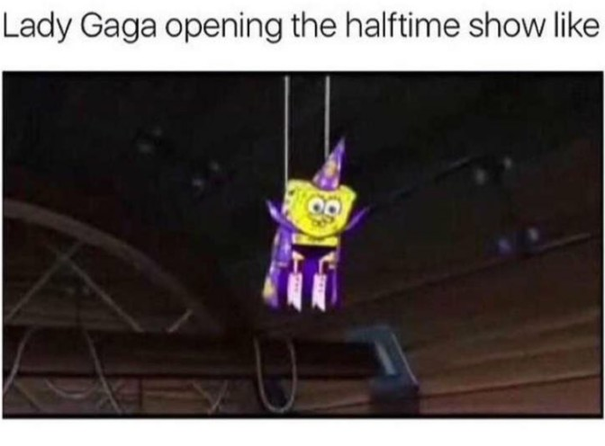 lady gaga opening the halftime show like spongebob