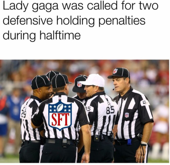 lady gaga was galled for two defensive holding penalties during halftime