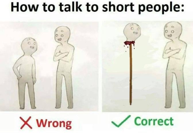 how to talk to short people head on stick