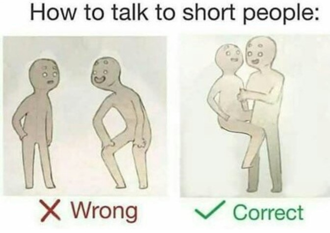 how to talk to short people hold them on knee