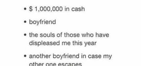 i finished my christmas list i can't wait: $1,000,000 in cash…